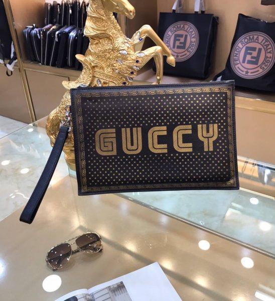Clutch nam Gucci siêu cấp vàng đen họa tiết chấm bi