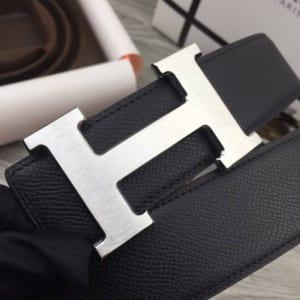 Dây nịt nam Hermes đen mặt chữ H classic