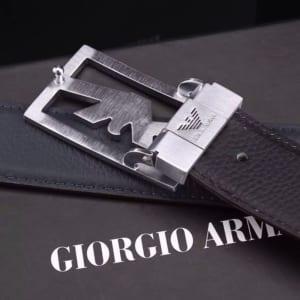 Dây lưng nam Armani đen và nâu mặt khóa logo siêu cấp