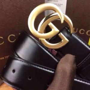 Dây lưng nam Gucci siêu cấp đen mặt khóa vàng