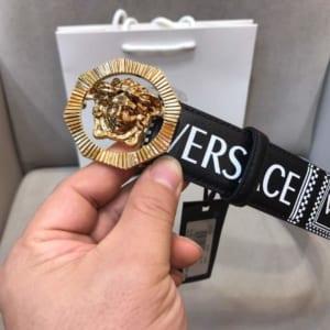 Dây lưng nam Versace siêu cấp dây đen mặt khóa vàng