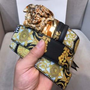 Dây lưng nam Versace siêu cấp dây hoa mặt khóa vàng