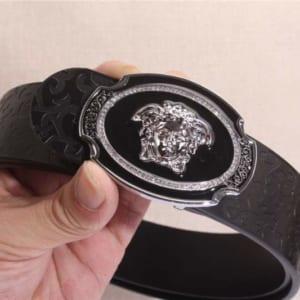 Dây lưng nam Versace siêu cấp đen mặt bạc