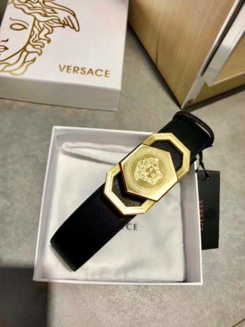 Dây lưng Versace nam siêu cấp đen mặt khóa lục giác vàng