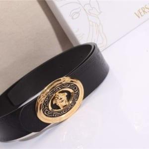 Dây lưng Versace siêu cấp nam đen mặt khóa vàng