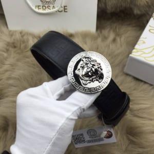 Dây lưng Versace nam siêu cấp đen mặt tròn trắng