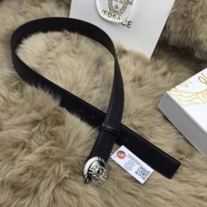 Dây lưng Versace nam đen mặt tròn trắng