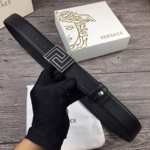 Dây lưng Versace nam siêu cấp đen mặt chữ nhật trắng