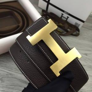 Dây nịt nam Hermes nâu mặt chữ H mordern siêu cấp