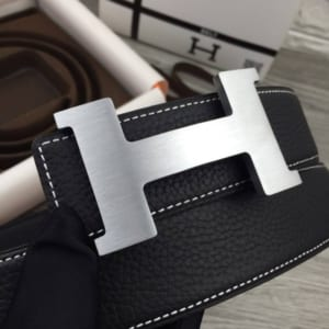 Dây nịt nam Hermes đen mặt chữ H modern siêu cấp