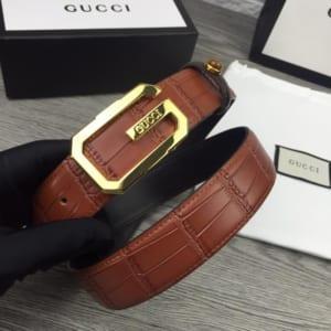 Dây nịt nam Gucci siêu cấp mặt khóa G gold