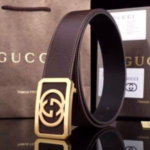 Dây nịt nam Gucci siêu cấp nâu mặt chữ nhật