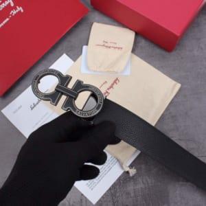 Dây nịt nam Salvatore Ferragamo đen mặt khắc chữ siêu cấp