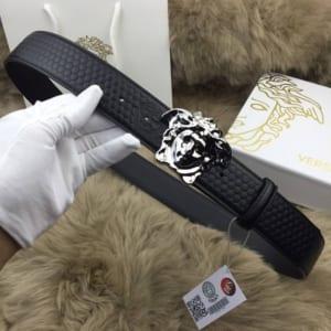 Dây nịt nam Versace siêu cấp đen mặt khóa classic trắng