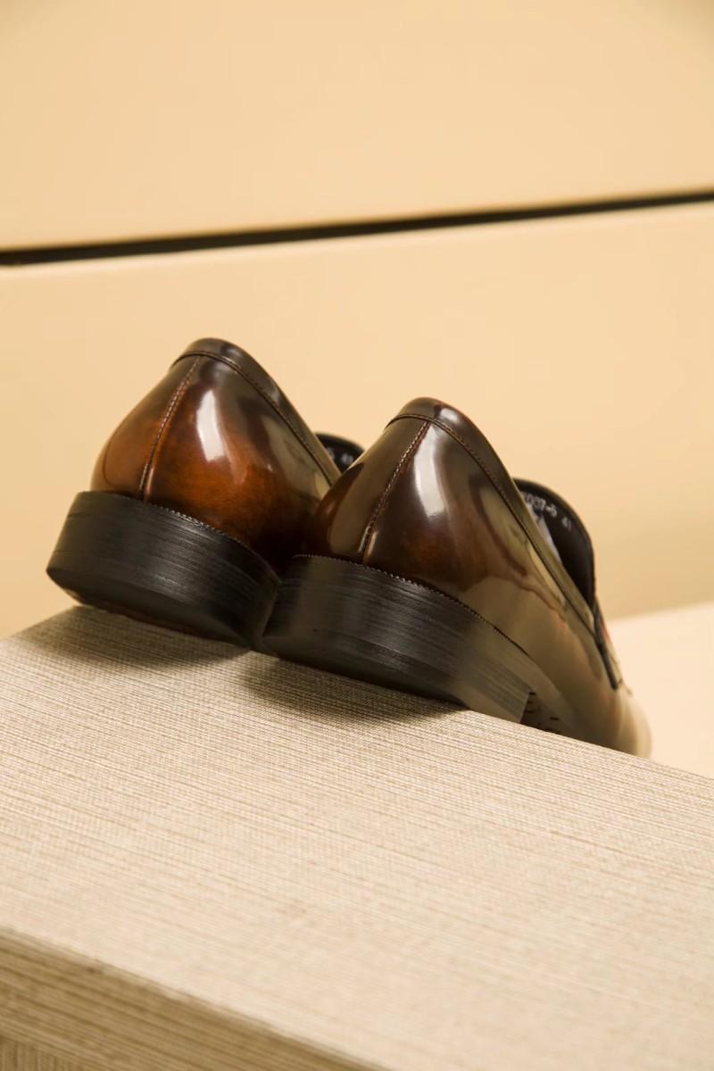Giày lười Louis Vuitton siêu cấp họa tiết bàn cờ màu nâu