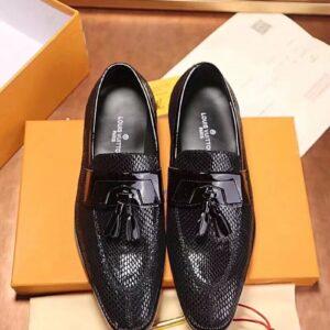 Giày lười Louis Vuitton siêu cấp buộc nơ màu đen
