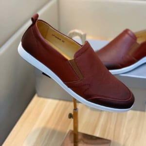 Giày lười Prada siêu cấp da trơn màu nâu
