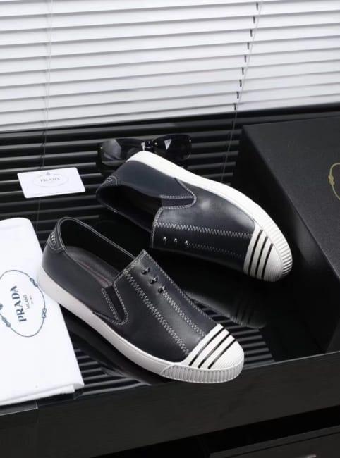 Giày lười Prada siêu cấp họa tiết chỉ may