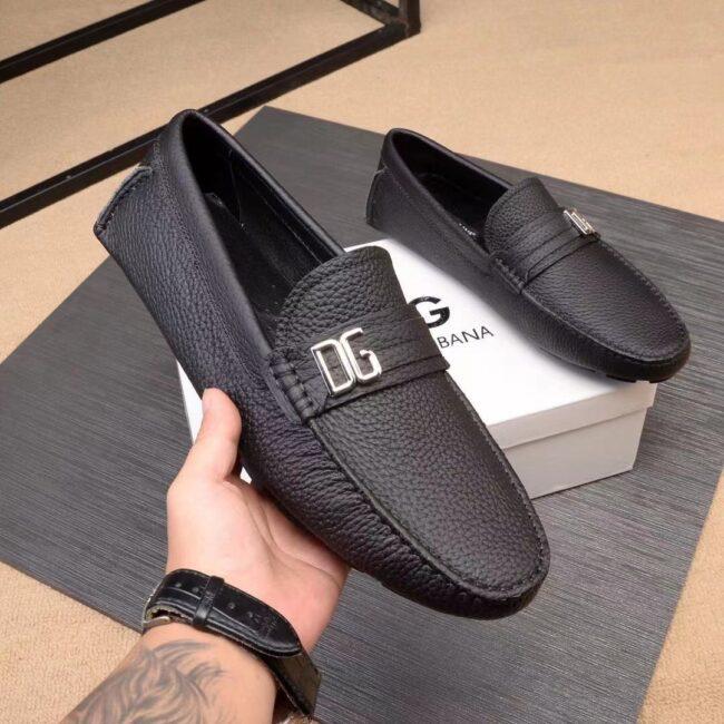 Giày lười D&G siêu cấp da nhăn họa tiết khóa lệch màu đen GLDG07
