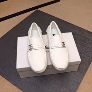 Giày lười D&G siêu cấp da nhăn họa tiết khóa lệch màu trắng GLDG06