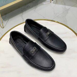 Giày lười D&G siêu cấp da nhăn họa tiết logo màu đen GLDG03