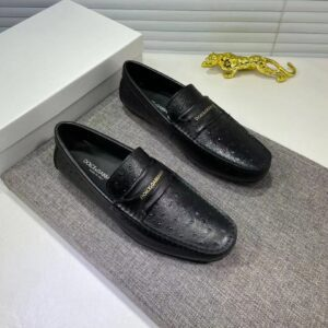 Giày lười D&G siêu cấp da sần họa tiết logo đen GLDG02