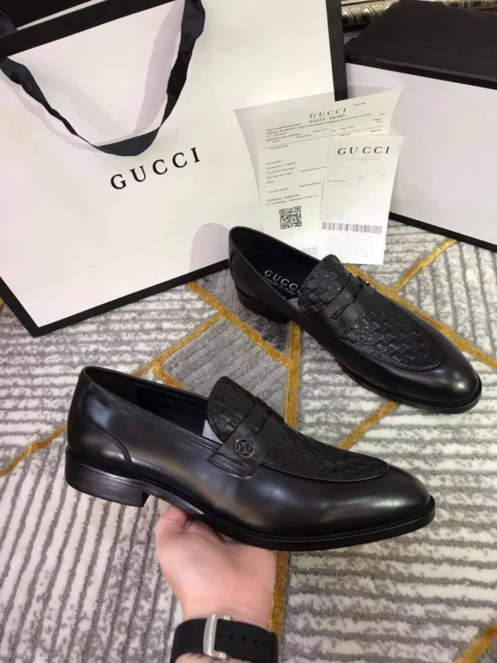 Giày lười Gucci siêu cấp đen họa tiết da sần