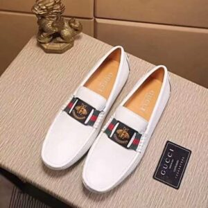 Giày lười Gucci siêu cấp họa tiết con ong màu trắng