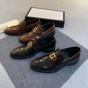 Giày lười Gucci siêu cấp họa tiết logo màu nâu