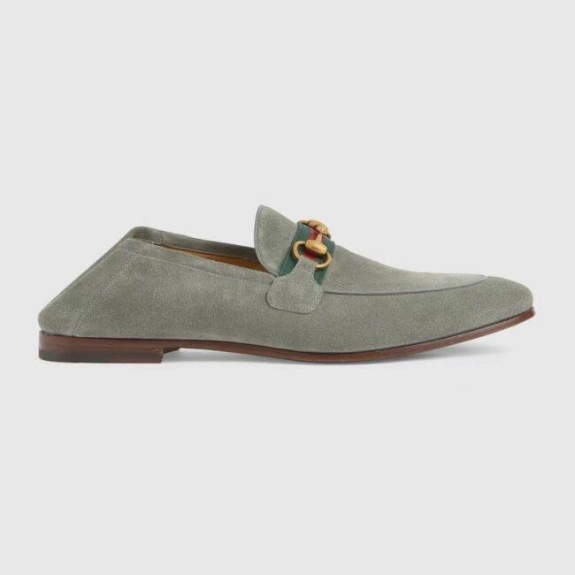 Giày lười Gucci like au đế cao da lộn màu xám GLGC07