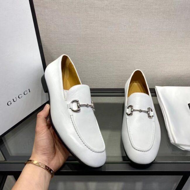 Giày lười Gucci like au đế cao họa tiết da trơn full trắng GLGC08