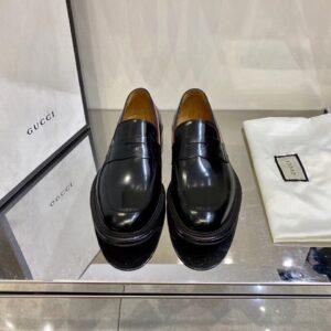Giày lười Gucci like au đế cao họa tiết viền ba màu GLGC28