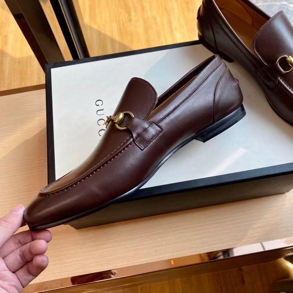 Giày lười Gucci like au đế cao da trơn khóa ngang màu nâu GLGC27