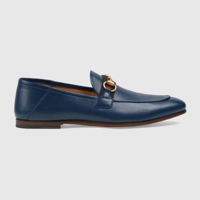 Giày lười Gucci like au đế cao khóa ngang màu xanh GLGC36