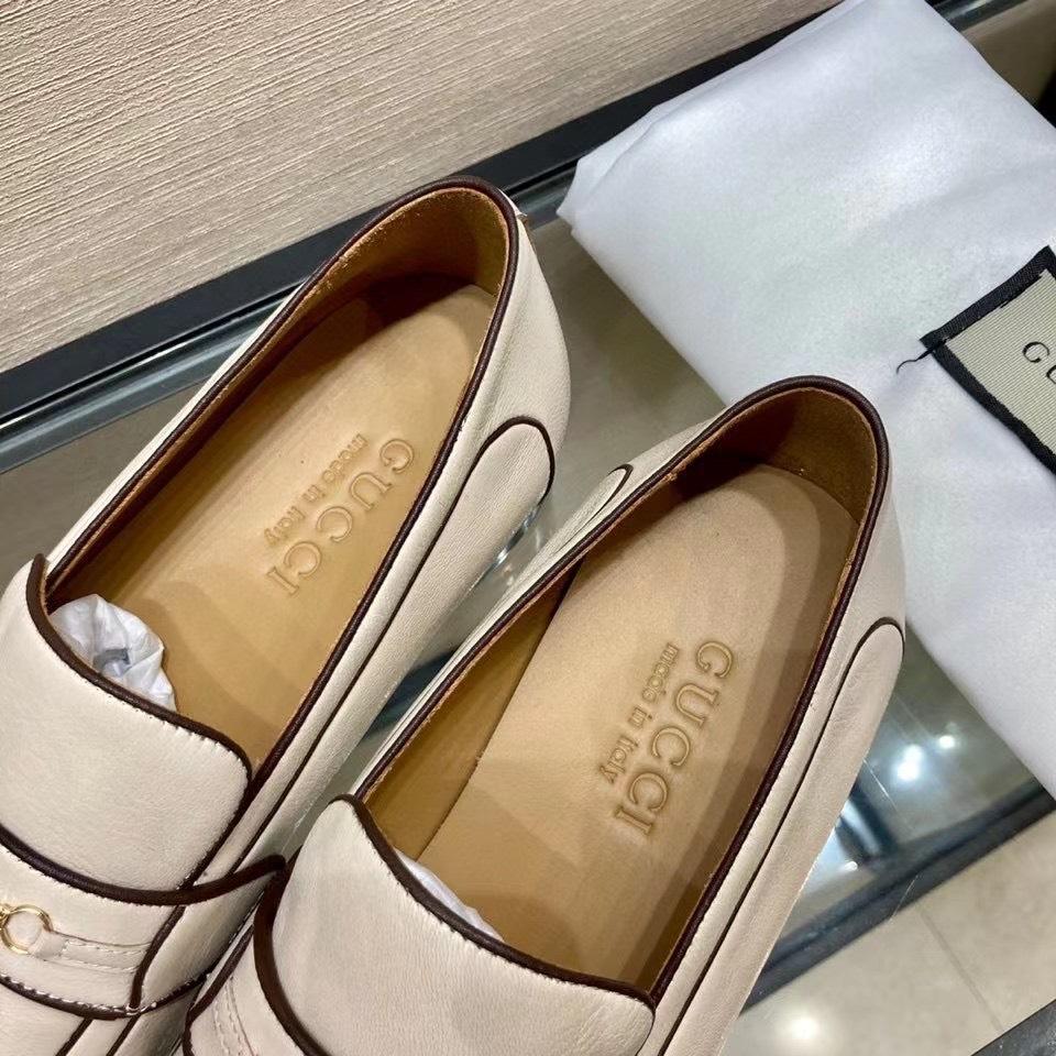 Giày lười Gucci like au họa tiết logo màu kem GLGC29
