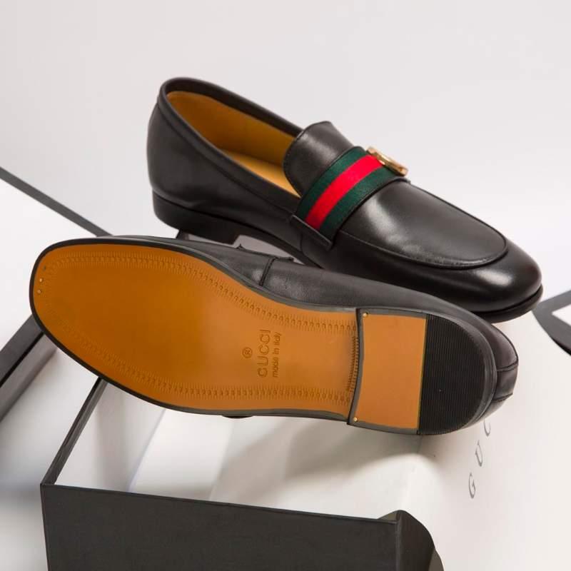 Giày lười Gucci siêu cấp logo lệch viền kẻ xanh đỏ