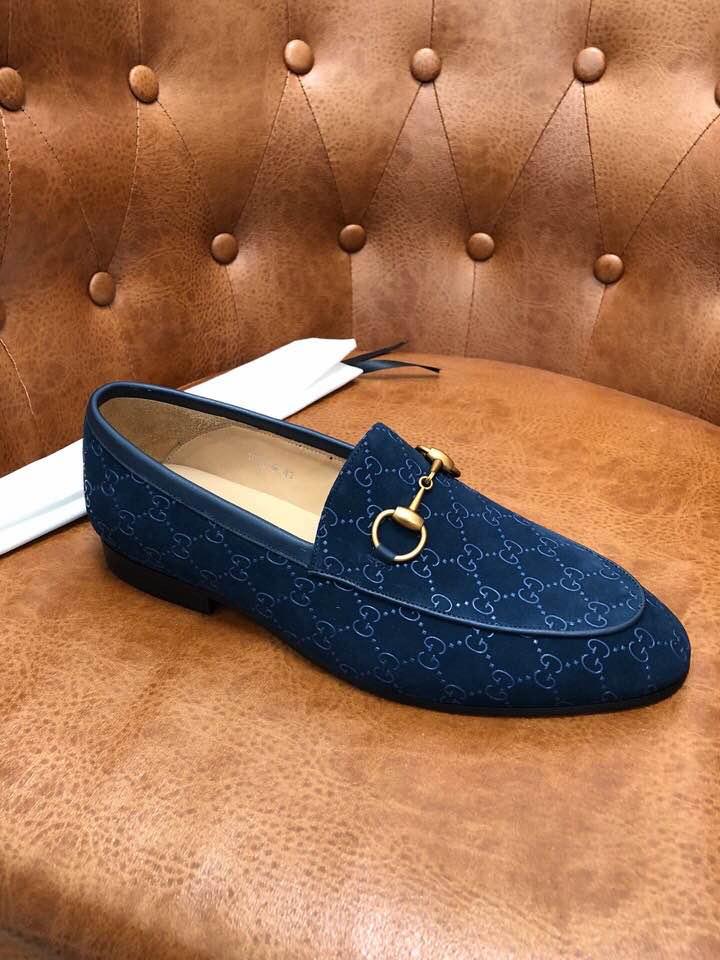 Giày lười Gucci siêu cấp xanh họa tiết logo