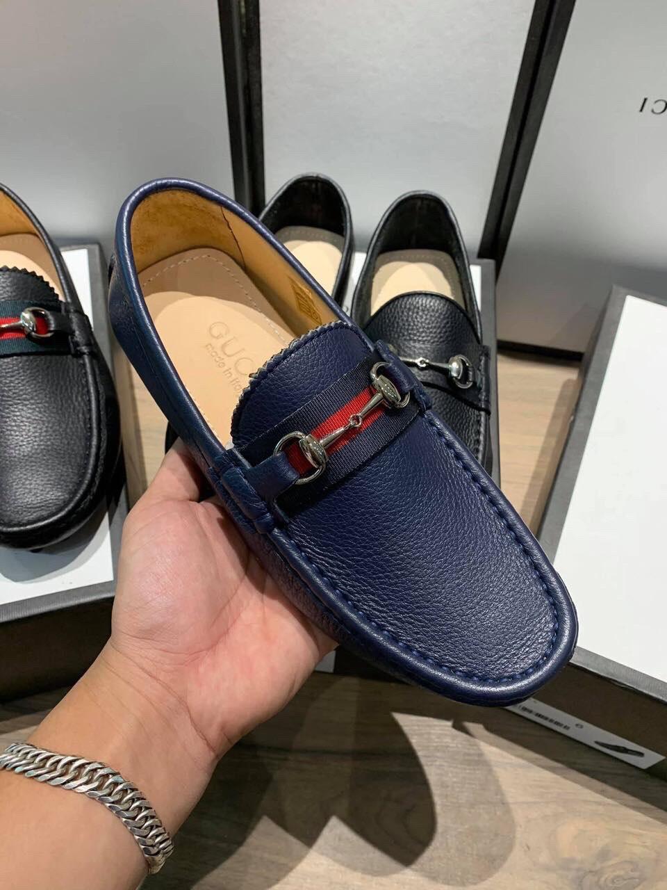Giày lười Gucci siêu cấp xanh họa tiết logo GLGC51