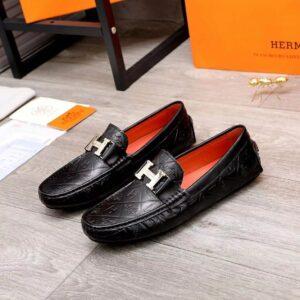 Giày lười Hermes siêu cấp họa tiết đan chéo GLH10