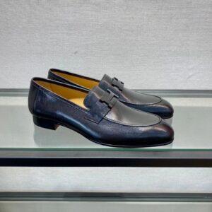 Giày lười Hermes like au đế cao da lỳ họa tiết logo GLH12