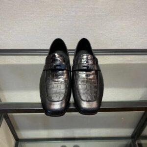 Giày lười Hermes like au đế cao da rạn họa tiết móc tròn GLH02