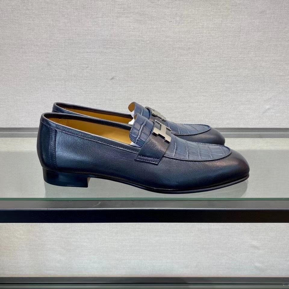 Giày lười Hermes like au đế cao hoạ tiết da rạn xanh đen GLH05