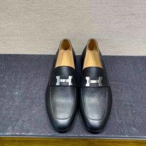 Giày lười Hermes like au đế cao họa tiết logo da taiga GLH03