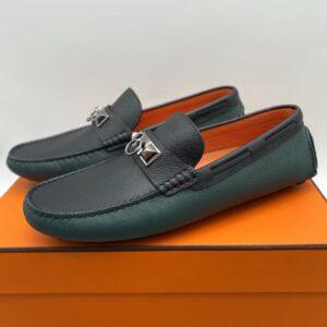 Giày lười Hermes like au hoạ tiết móc khoá màu xanh đen GLH06