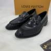 Giày lười Louis Vuitton siêu cấp da trơn màu đen GLLV09
