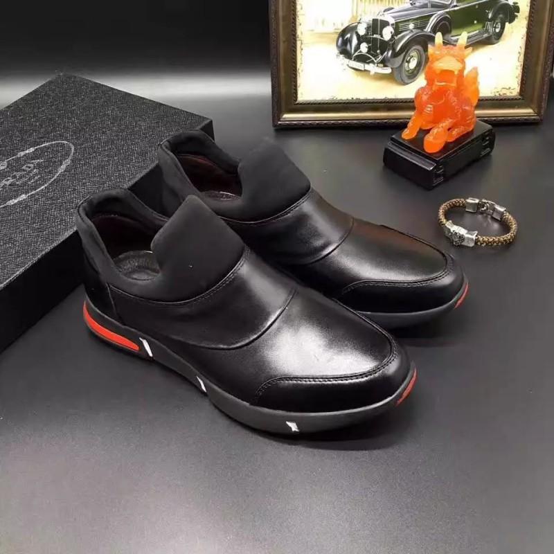 Giày lười Prada siêu cấp cao cổ màu đen