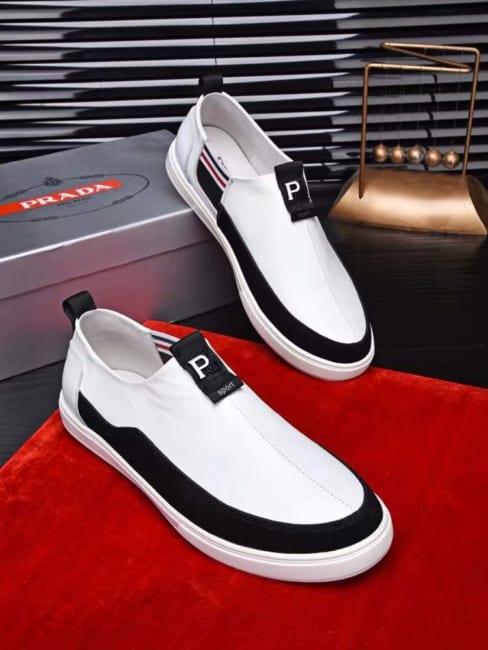Giày lười Prada siêu cấp họa tiết chữ màu trắng