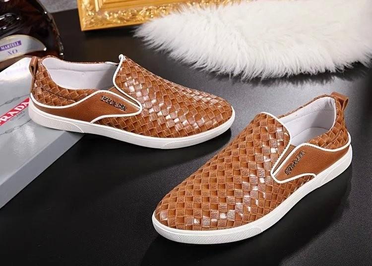 Giày lười Prada siêu cấp họa tiết đan chéo màu vàng