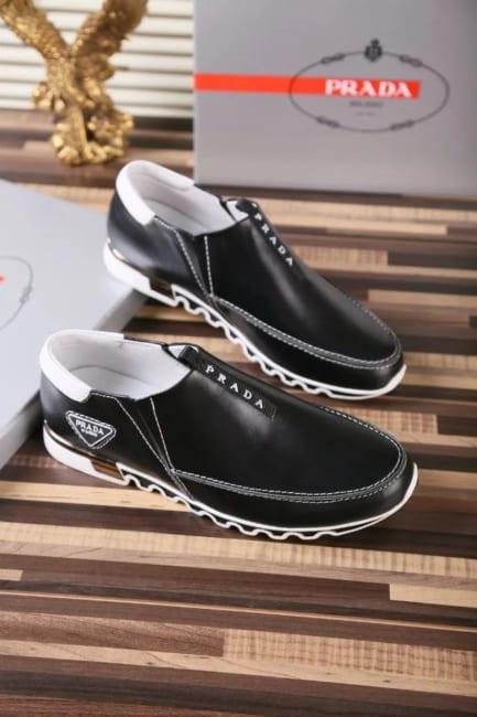 Giày lười Prada siêu cấp họa tiết logo màu đen