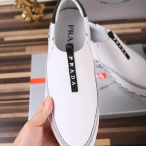 Giày lười Prada siêu cấp họa tiết logo màu trắng